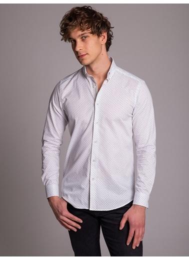 Dufy Beyaz Nokta Desenlı Erkek Gömlek - Slım Fıt Gri